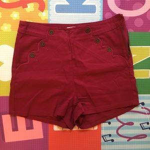 Maroon ModCloth ultra flattering shorts like new
